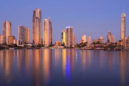 Evening shots of Australian modern city in Gold Coast, Surfers Paradise, QLD, Australia