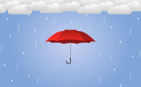 Red umbrella vector illustration in rain - flat design.
