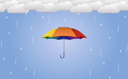 Colorful umbrella vector illustration in rain - flat design. Stock Photo