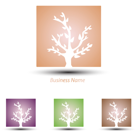 logo marketing: logo square tree Illustration