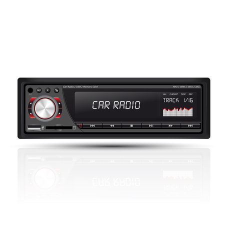 fm radio: car radio red Illustration