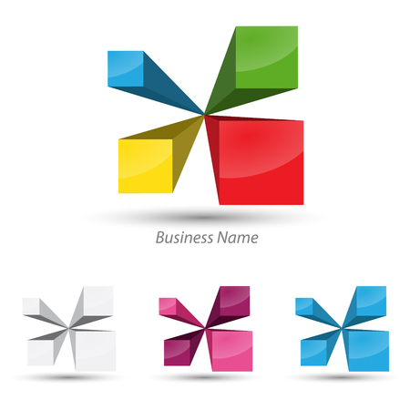 logo marketing: logo 4 cubes Illustration