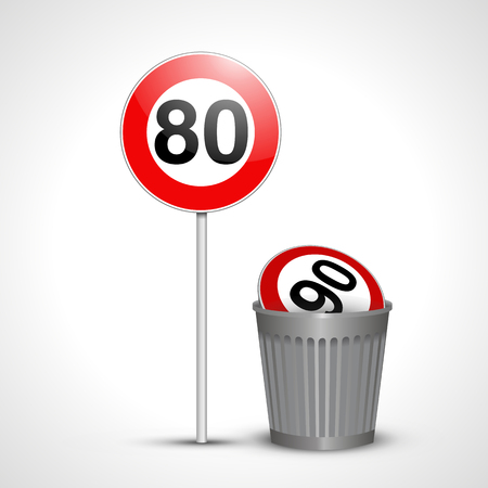 Signe de 80 français avec 90 dans une poubelle Banque d'images - 99507942