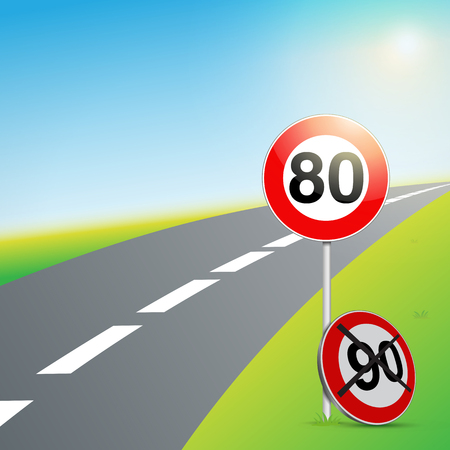French 80 sign with road and nature Иллюстрация