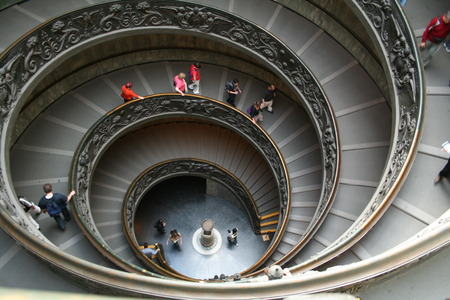 vatican: Italy. Rome. Vatican. A double spiral staircase.