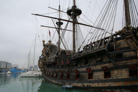 Italy. Genova. Port. Ship Stock Photo