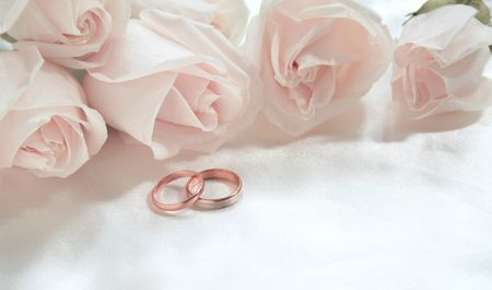 Wedding rings and roses can use as background  Stock Photo - 5435281