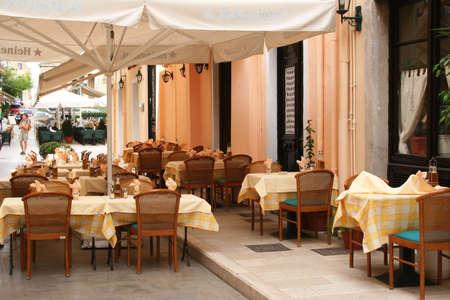 openair: Greece. Corfu island. Corfu town. An open-air cafe  Stock Photo
