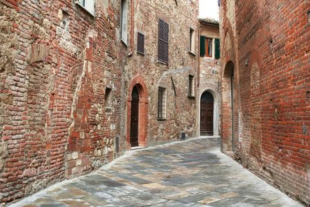montepulciano: Italy. Tuscany region. Montepulciano town. Medieval street