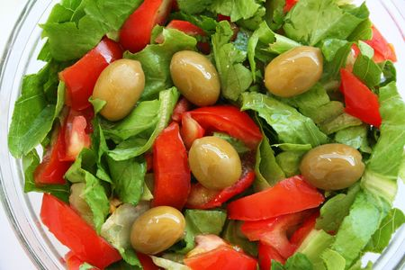 grecian: Healthy vegetarian Salad on the glass plate over white