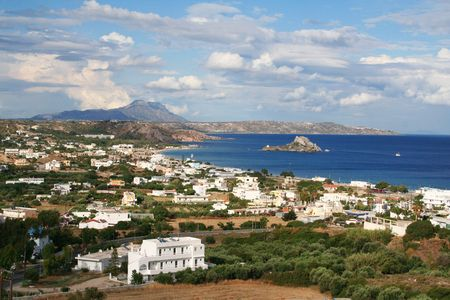 kos: Greece. Kos island. Bay of Kefalos with a Castri isle
