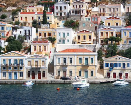 Greece. Dodecanesse. Island Symi (Simi). Colorful houses