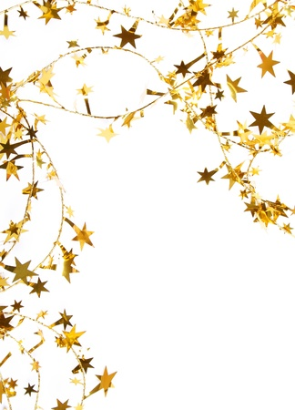 spangles: Holiday golden stars and spangles as background  Stock Photo
