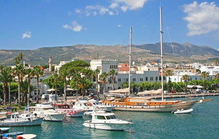 kos: Greece. Dodecanesse. Island Kos. Kos town. Harbor with yachts  Stock Photo