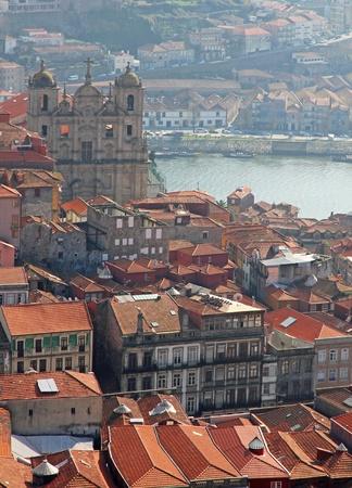 ポルトガル。ポルト。ポルトガルの市の上空からの眺め.ポルト。都市からの眺め