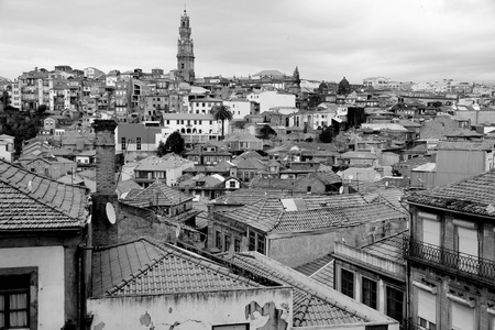 Portugal. Porto. Aerial view over the city in black and white  photo
