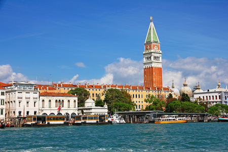 campanile: Italy. Venice. View of the lagoon with Campanile on Piazza di San Marco and water bus ( vaporetto ) stop
