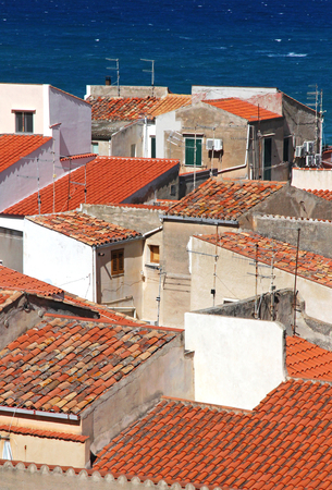 Italy. Sicily island . Province of Palermo. View of Cefalu. Roofs  photo