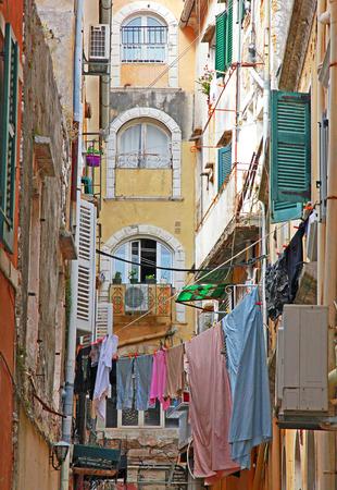 kerkyra: Greece. Corfu (Kerkyra) island. A typical courtyard in the center of Corfu Town Stock Photo