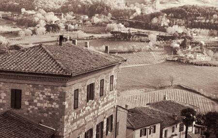 montepulciano: Montepulciano town in Tuscany region, Italy. Sepia toned, Retro style Stock Photo