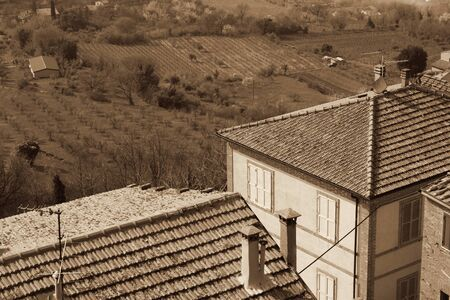 montepulciano: taly. Tuscany region. Montepulciano town in spring. In Sepia toned. Retro style