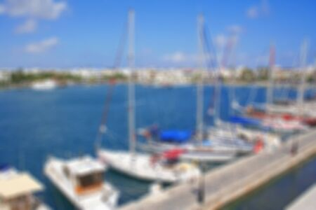 kos: Greece. Dodecanesse. Island Kos. Kos town. Harbor with yachts. In blur style Stock Photo