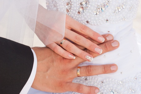 Just married hands photo