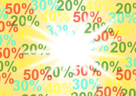 procent: banner depreciation of 20%, 30%, 40%, 50% yellow
