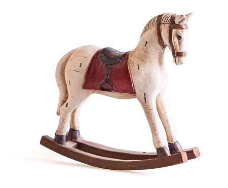 caballos negros: Antiguo juguete del caballo mecedora aislado en blanco