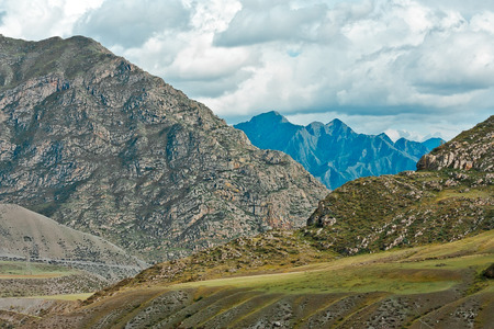 altay: Summer day Altay mountain with white clouds Stock Photo