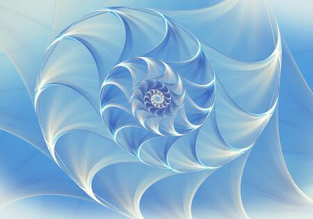 Abstract fractal nautilus background with blue shell