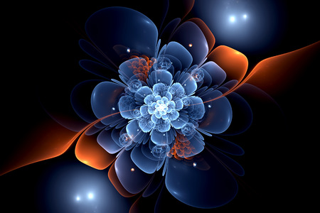 blue orange fantasy artistic flower. Beautiful shiny futuristic background for wallpaper, interior, album, flyer cover, poster, booklet. Fractal artwork for creative design. Stock Photo