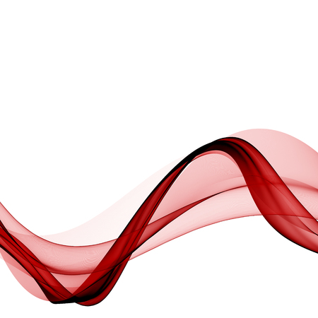 red silk: abstract red, line, wave, smoke, fabric isolated on white background raster illustration Stock Photo