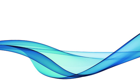 water wave: abstract blue line, wave, smoke, fabric isolated on white background raster illustration Stock Photo