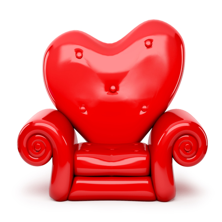 chair cartoon: 3d red sofa on heart shape isolated on white Stock Photo