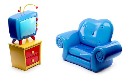 3d cartoon Tv and blue sofa isolated on white background Stock Photo