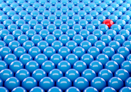 3d blue ball Stand out of a crowd - individuality