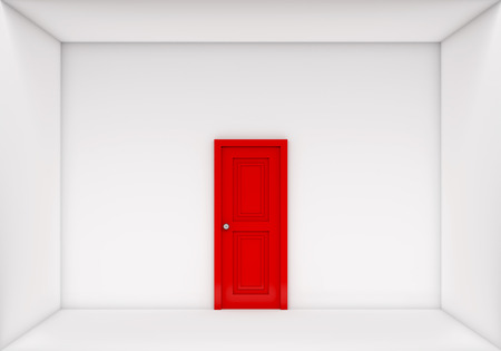 room door: single red door closed on the white room