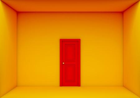 door casing: single red door closed on the yellow room