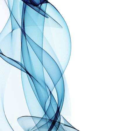 fabric art: abstract blue line, wave, smoke, fabric isolated on white background raster illustration Stock Photo