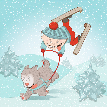 sledge dog: Winter holidays. Boy and dog ricing. Children funny illustration, magazines, advertising, holiday and Christmas cards and more. Separate Objects. VECTOR. Illustration