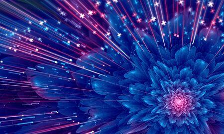 violet flower: Beautiful abstract blue fractal flower, glossy violet flower. Artwork for creative design.