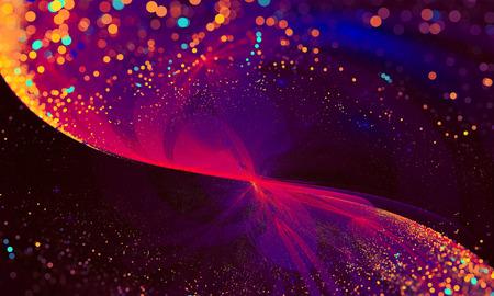 抽象的な背景ライト粒子は、ボケ味を持つ波をキラキラします。フラクタル アート パターン壁紙、インテリア、アルバム、チラシ表紙、ポスター、