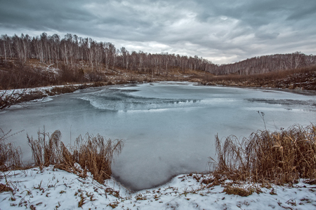ice crust: Surface of the forest lake in beginning of winter with autumn thin ice crust