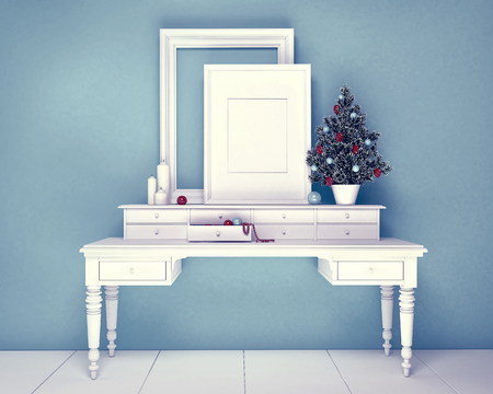 interior cell: Christmas Tree Decoration with empty frame on gray colored room Stock Photo