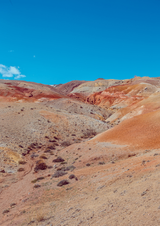 altai: Deposit of colorful clay in the Altai Mountains or Mars valley, Altai, Kizil-Chin Stock Photo