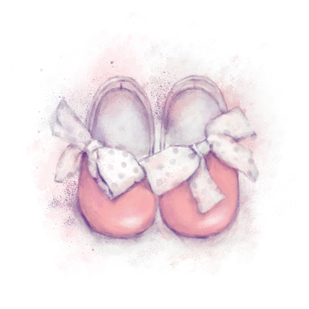 Baby watercolor pink shoes with dotted bow for a girl