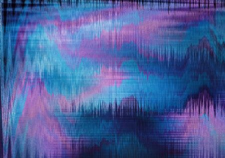 violet and blue blurred abstract background texture with stripes. glitches, distortion on the screen broadcast digital Stock Photo