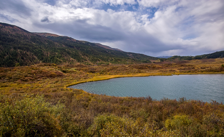ulagan: lake cheybekkohl in the vicinity of the mountain pass Ulaganskiy. Altai, Russia