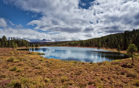 ulagan: lake in the vicinity of the autumnmountain pass Ulaganskiy. Altai, Russia